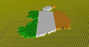 Ireland map flag on golden euros coins illustration. Ireland map flag on golden euros coins abstract 3d illustration Stock Images