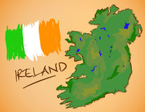 Ireland Map and National Flag Vector Stock Photos