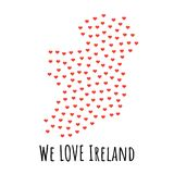 Ireland Map with red hearts - symbol of love. abstract background. Ireland Map with red hearts- symbol of love. abstract background with text We Love Ireland Stock Photography