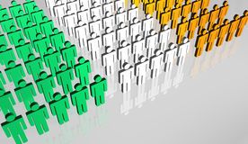 Ireland People Flag 3D. Group of abstract people forming the Ireland flag Royalty Free Stock Photography