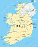 Ireland Political Map. With capital Dublin, national borders, most important cities, rivers and lakes. English labeling and scaling. Illustration Royalty Free Stock Photo
