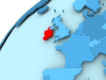 Ireland on blue globe. Ireland in red on blue model of political globe. 3D illustration Royalty Free Stock Images