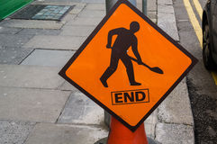 Ireland. Road work sign. End Stock Photography