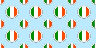 Ireland round flag seamless pattern. Irish background. Vector circle icons. Geometric symbols. Texture for sports pages vector illustration