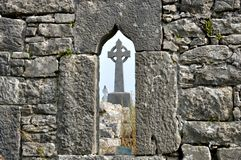 Ireland ruins window and cross Stock Photography