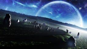Ireland`s Stonehenge Celestial Fantasy vector illustration