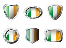 Ireland set shiny buttons and shields of flag Stock Photography