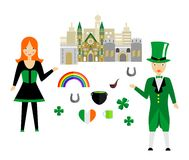 The ireland set. Set in the style of a flat design on the theme of Ireland Stock Images