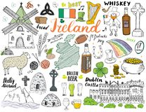 Ireland Sketch Doodles. Hand Drawn Irish Elements Set with flag and map of Ireland, Celtic Cross, Castle, Shamrock, Celtic Harp, M Stock Photo