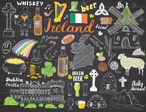 Ireland Sketch Doodles. Hand Drawn Irish Elements Set with flag and map of Ireland, Celtic Cross, Castle, Shamrock, Celtic Harp, M. Ill and Sheep, Whiskey Vector Illustration