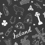 Ireland Sketch Doodles Seamless Pattern. Irish Elements with flag and map of Ireland, Celtic Cross, Castle, Shamrock, Celtic Harp, Royalty Free Stock Images