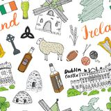 Ireland Sketch Doodles Seamless Pattern. Irish Elements with flag and map of Ireland, Celtic Cross, Castle, Shamrock, Celtic Harp, Stock Photos