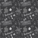 Ireland Sketch Doodles Seamless Pattern. Irish Elements with flag and map of Ireland, Celtic Cross, Castle, Shamrock, Celtic Harp, Stock Images