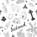 Ireland Sketch Doodles Seamless Pattern. Irish Elements with flag and map of Ireland, Celtic Cross, Castle, Shamrock, Celtic Harp, Stock Photography