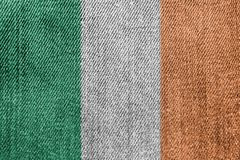 Ireland Textile Industry Or Politics Concept: Irish Flag Denim Jeans. Background Texture stock photos