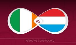 Free Ireland Vs Luxembourg In Football Competition, Group A. Versus Icon On Football Background Royalty Free Stock Photo - 214468055