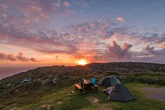 Ireland wild camping on the Sheep`s Head Peninsula stock images