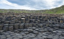 Irelands rocky Giant Causeway. A view of rocks from the Giant Causeway in Northern Ireland royalty free stock photography
