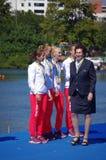 Irena Szewinska and Poland's bronze medalist in women's quadruple sculls Rio2016 Royalty Free Stock Photos