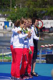 Irena Szewinska and Poland's bronze medalist in women's quadruple sculls Rio2016 Royalty Free Stock Images
