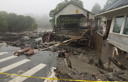 Irene Destroys Quechee Covered Bridge Stock Photos