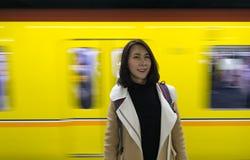 Irene Portrait com fundo do trem fotografia de stock