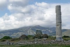 Greek column in the site of Ireo in the Greek island of Samos. Ireo is the most important archaeological site of Samos, located near the town of Pythagorion, and Royalty Free Stock Images