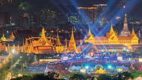 Ireworks on Father`s day at Emerald Buddha, Bangkok, Thailand Royalty Free Stock Photos