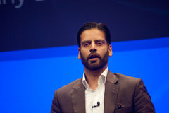 Irfan Khan delivers an address to SAP TechEd 2015 conference Royalty Free Stock Photos