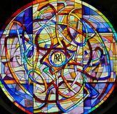 Stained Glass in the Collegiata of San Gimignano Stock Photos