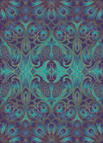 Iridescent floral pattern with pomegranates. Stock Images
