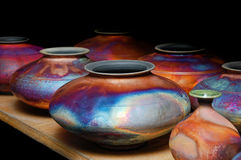 Iridescent glazed handmade pottery Royalty Free Stock Images