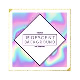 Iridescent Holographic Frame Design. A label design with square, gold detail and iridescent holographic texture background. Vector illustration Royalty Free Stock Photos