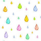 Iridescent rain. Set of color drops for design  on a white background. Watercolor drawing. Handwork. Seamless pattern Royalty Free Stock Images