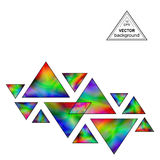 Iridescent Triangles Design Element for the White Background. Geometric Triangular Shapes Compositions with Realistic Holographic Effect Stock Photos