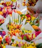 Iriers och tulpan i buketter i den Redmond bonden marknadsför Arkivbild