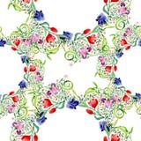 Iriers och tulpan smyckar den blom- botaniska blomman Uppsättning för vattenfärgbakgrundsillustration Seamless bakgrund mönstrar stock illustrationer