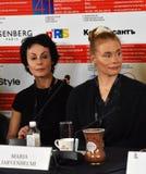 Irina Apeximova, Maria Jarvenhelmi at press-conference. MOSCOW - APRIL 19, 2019: Left to right - actress Irina Apeximova, Russia, actress, singer Maria royalty free stock photos