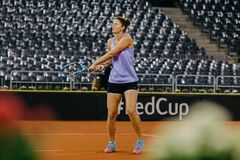 Irina Begu training at Fed Cup 2018 Romania Royalty Free Stock Image