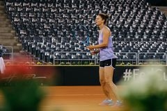 Irina Begu training at Fed Cup 2018 Romania royalty free stock photo