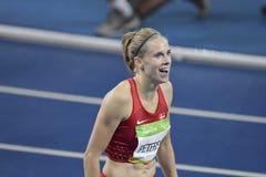 Olympic Games Rio 2016. IRio de Janeiro, Brazil - august 18, 2016: Runner Sara Slott PETERSEN (DEN) during women's 400m Hurdles in the Rio 2016 Olympics royalty free stock images