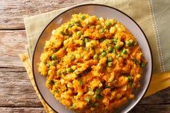 Irio Mashed Sweet Potato con i piselli ed il cereale - primo piano keniano fotografia stock