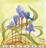 Iris. Blue iris flowers drawn in modernist (Art Nouveau) style royalty free illustration