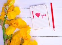 Iris amarillos y un cuaderno con una inscripción Imagen de archivo libre de regalías