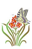 Iris and butterfly Stock Photography