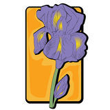 Iris clip art. Iris flower clip art, hand drawn cartoon illustration isolated on white Royalty Free Stock Image