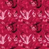 Iris de la acuarela y rojo inconsútil del modelo de los tulipanes stock de ilustración