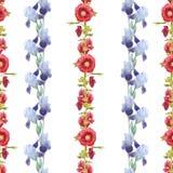Iris en malve op wit wordt geïsoleerd dat Mooi modern naadloos patroon met bloemenornamenten royalty-vrije illustratie