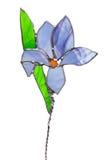 Iris en verre souillé de rouge d'isolement sur le blanc Photo stock