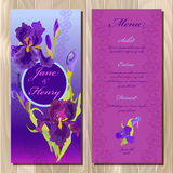 Iris flower wedding menu card. Printable Vector illustration Royalty Free Stock Photo